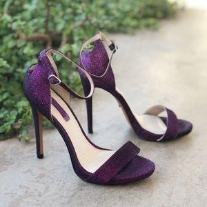 Topshop Ralphie Purple Glitter Heel Sandals